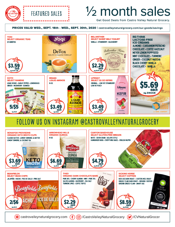 Castro Valley Natural Grocery Sales 9-16-20